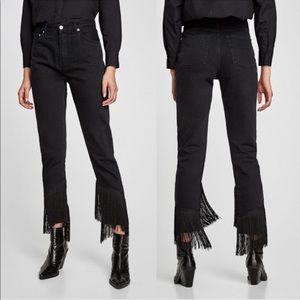 NWT Zara Vintage High Rise Black Fringe Jeans